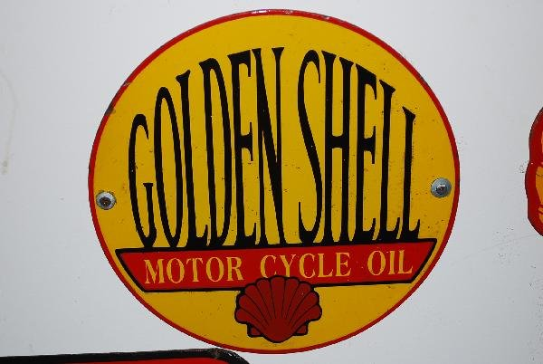 15: Golden Shell Motor Oil  SSP sign,  12x12 inches,