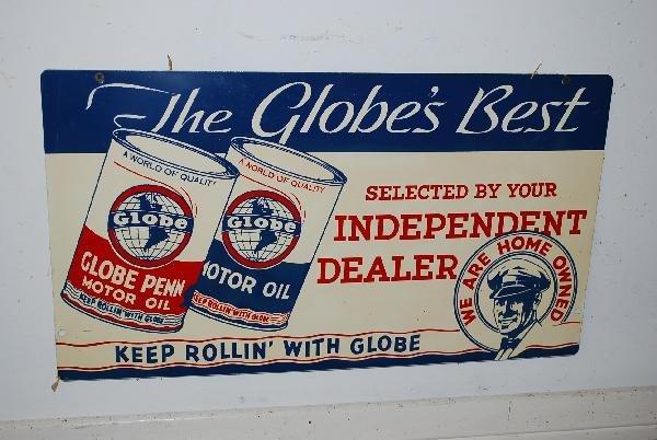 "21: Globe Motor Oil ""Keep Rollin' with Globe"" has great"