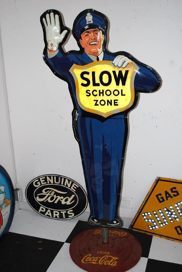 """117: Original Coca-Cola Policeman """"Slow School Zone""""  2"""