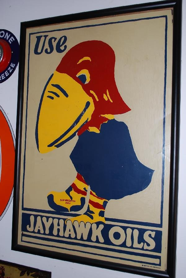 304: Use Jayhawk Oils with logo,  SST sign,  36x24 inch
