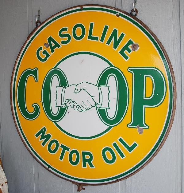 413: CO-OP Gasoline with shaking hands logo,  DSP sign