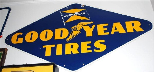 9: Goodyear Tires with flag logo, SSP diecut sign, 36x7