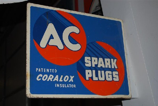 "15: AC Spark Plugs ""Coralox Insulator"" tin flange sign,"