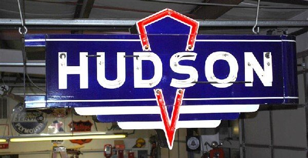 67: Hudson neon 2-DSP diecut sign with can & bull nose,