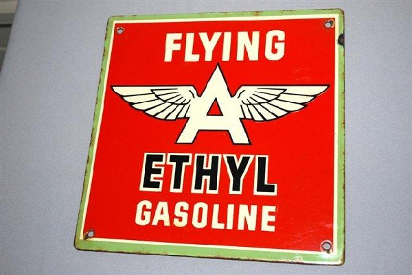 3: Flying A Ethyl Gasoline,  PPP sign,  10x10 inches,