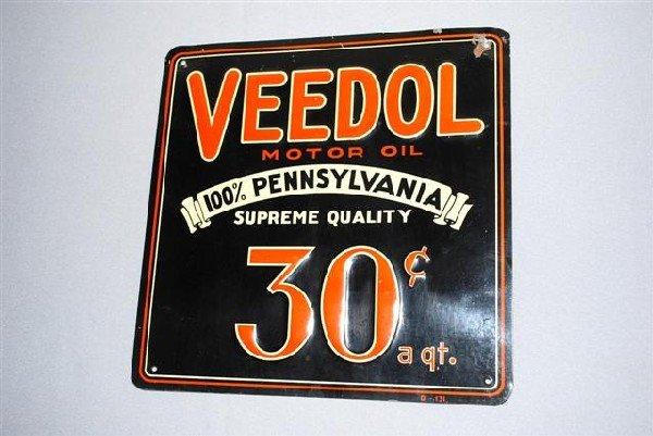 7: Veedol Motor Oil 30 cent SST embossed sign,  9.5x9.5