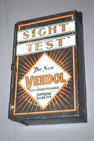 """18: Veedol """"Sight Test"""" metal box,  7.5x5x2.5 inches,"""
