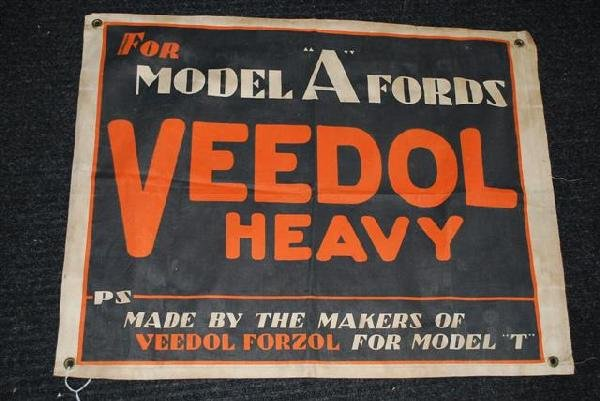 """20: Veedol Heavy """"for Model A Fords"""" cloth banner,  23x"""