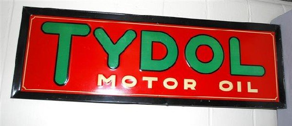 23: Tydol Motor Oil SST embossed sign,  14x42 inches,