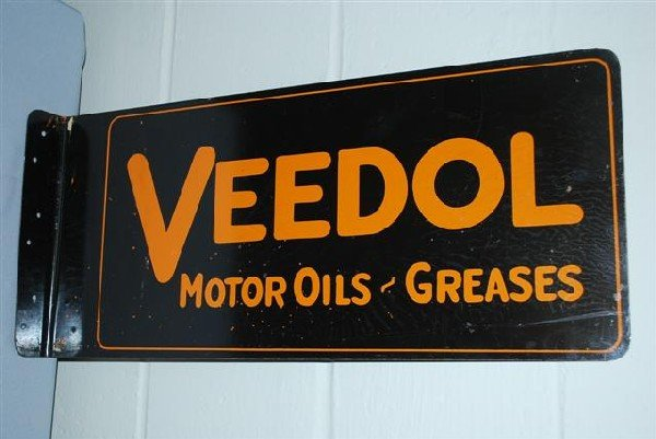 25: Veedol Motor Oil-Greases tin flange sign,  10x24 in