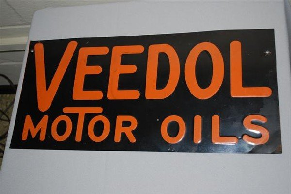 26: Veedol Motor Oil SST embossed sign,  9.5x20 inches,