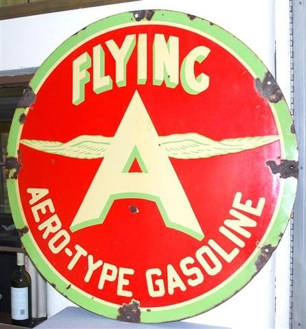 31: Flying A Aero-Type Gasoline with chicken wing logo,
