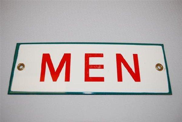 40: (Associated) Men (restroom) SSP sign,  2.5x7.75 inc