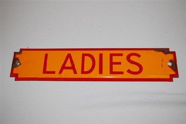 42: (Shell) Ladies (restroom) SSP diecut sign,  2.5x11