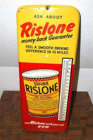 """43: Rislone """"The Oil Alloy"""" with can graphic,  tin ther"""