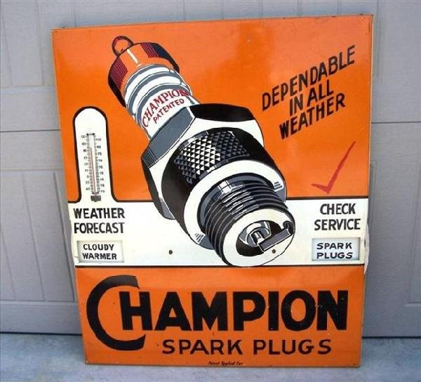 44: Champion Spark Plugs counter display with great gra