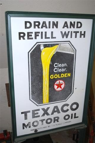 "50: Texaco (black-T) Clean, Clear Golden ""Drain and Ref"