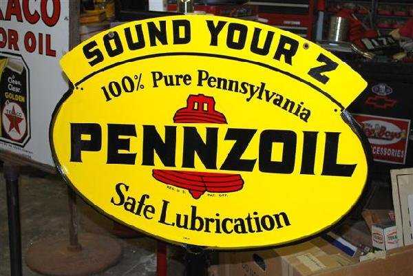 "53: Pennzoil ""Safe Lubrication"" DST diecut curb sign,"