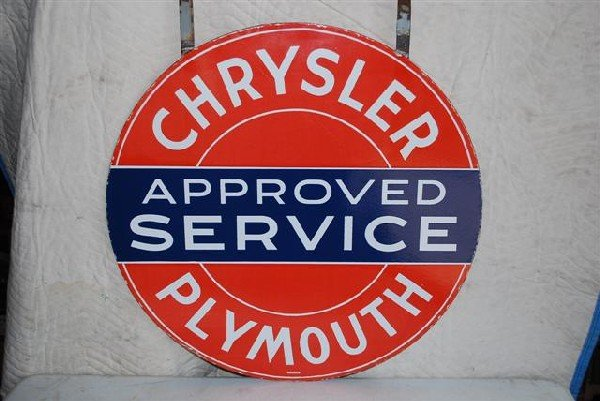 69: Chrysler Plymouth Approved Service DSP sign,  30 in
