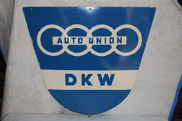 72: Auto Union DKM SSP diecut sign,  32x35 inches,