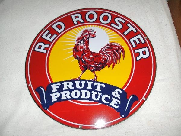 "81: Red Rooster ""Fruit & Produce"" SSP sign 20 inch,"