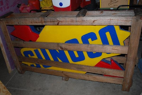 90: Plastic Sunoco Lighted Logo sign, it is new in wood