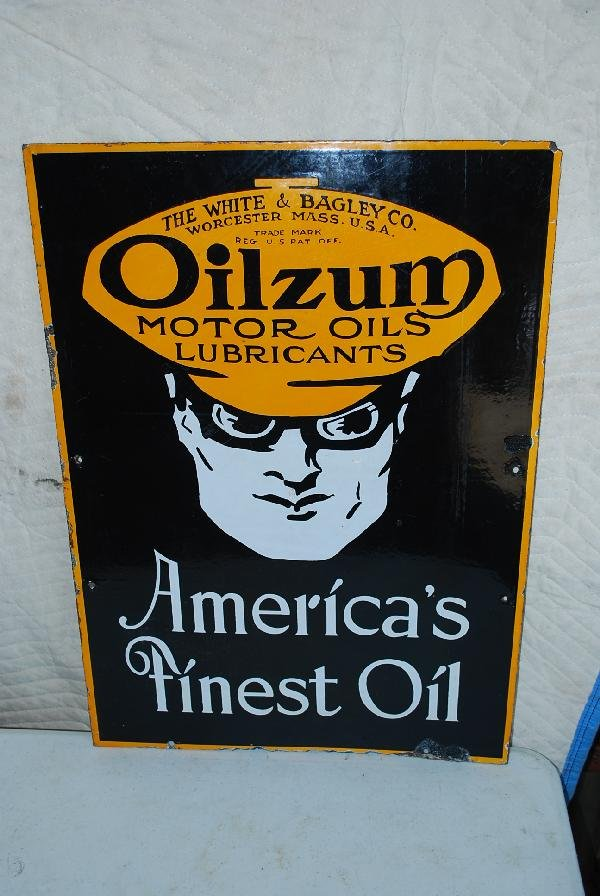 "91: Oilzum ""America's Finest Oil with logo  DSP sign,"