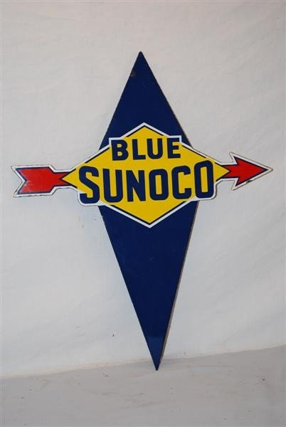1: Blue Sunoco with arrow PPP diecut sign, 22x18 inches