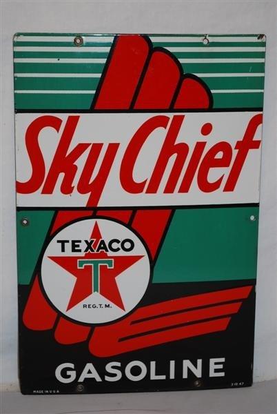 3: Texaco (white-T) Sky Chief Gasoline, PPP sign, 18x12