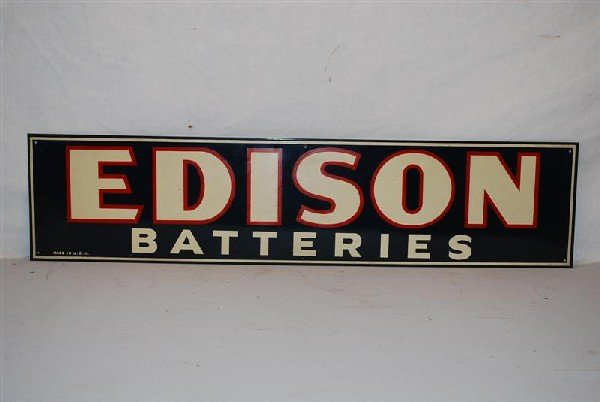 14: Edison Batteries SST sign, 7x30 inches,