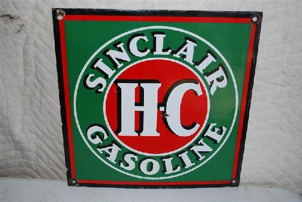 15: Sinclair H-C Gasoline PPP sign, 14x14 inches,