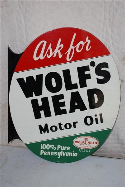18: Wolf's Head Motor Oil with logo, tin flange sign, 2