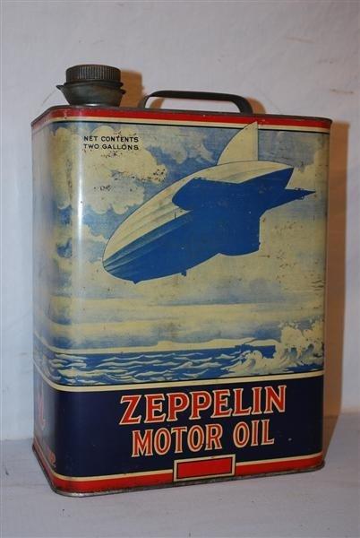 252: Zeppelin Motor Oil two gallon rectangle metal can