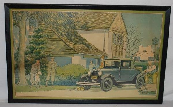 516: 1928 Ford Sport Coupe with people and dogs, showro