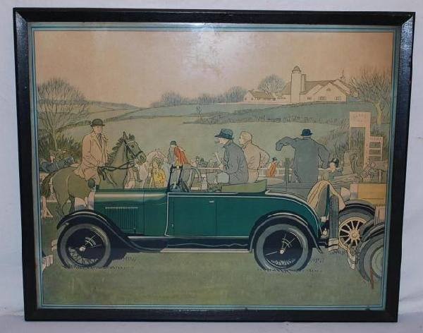 517: 1929 Ford Roadster at horse show, showroom poster
