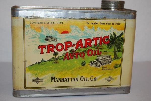 524: Manhattan Trop-Artic Auto Oil half-gallon flat met