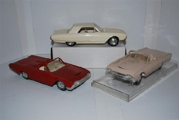 1019: 3-1962 Ford Thunderbird promo cars & model, plast