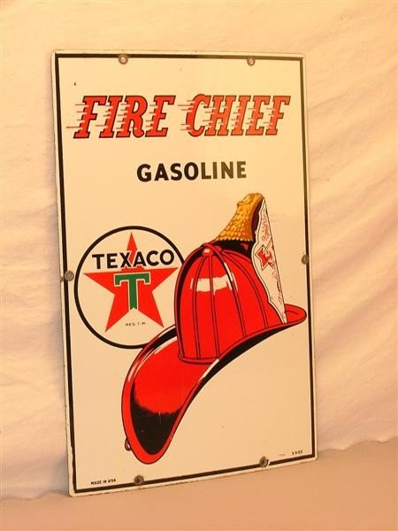 """3: Texaco """"Fire Chief Gasoline""""   PPP sign 18x12"""