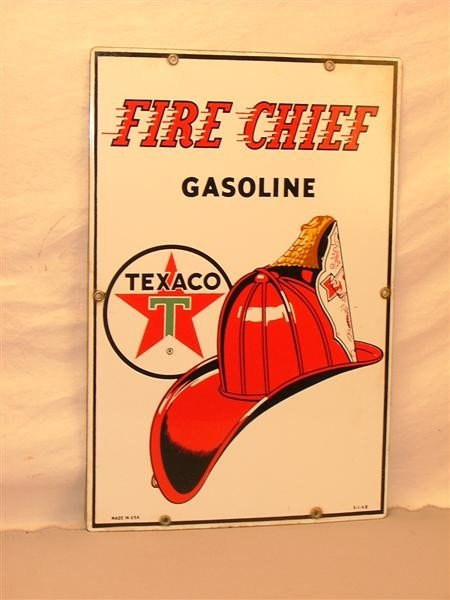 """5: Texaco """"Fire Chief Gasoline""""   PPP sign 18x12"""