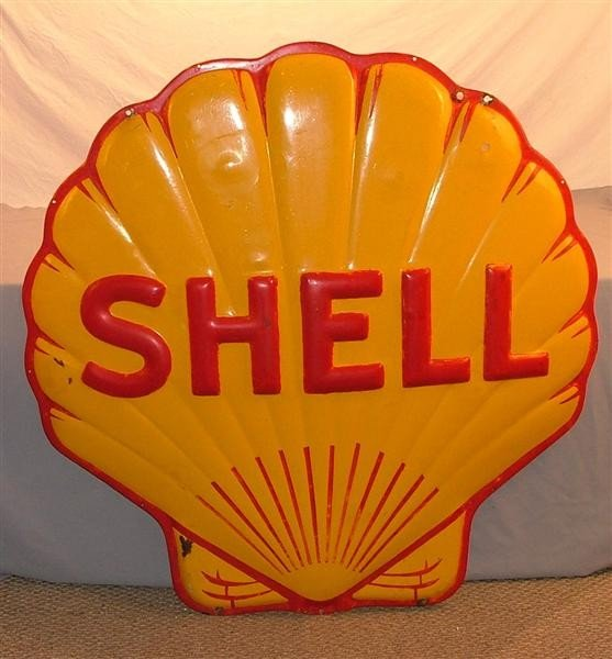 """14: Shell """"Clam shell""""  SSP embossed sign 48 inches"""