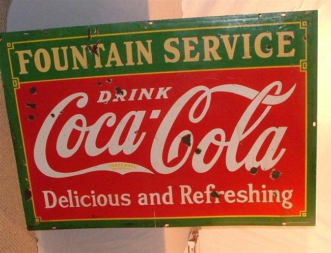 """15: Coca Cola """"Fountain Service""""  DSP sign 42x60"""