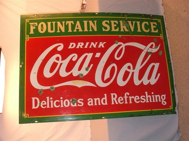 "15: Coca Cola ""Fountain Service""  DSP sign 42x60 - 2"