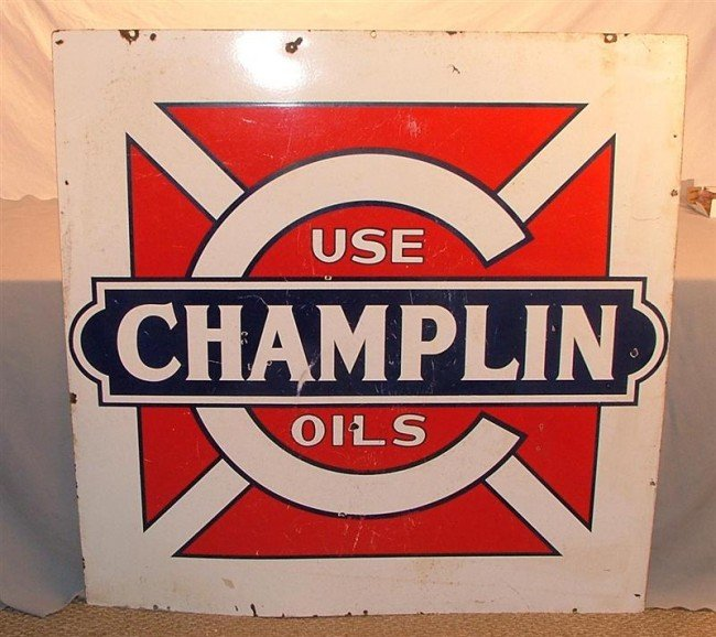 """16: """"Use CHAMPLIN Oils""""  DSP sign"""