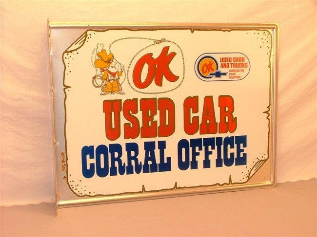"20: OK ""Used Car Corral Office""  DST embossed flange si"