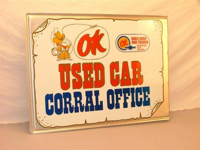 """20: OK """"Used Car Corral Office""""  DST embossed flange si - 2"""