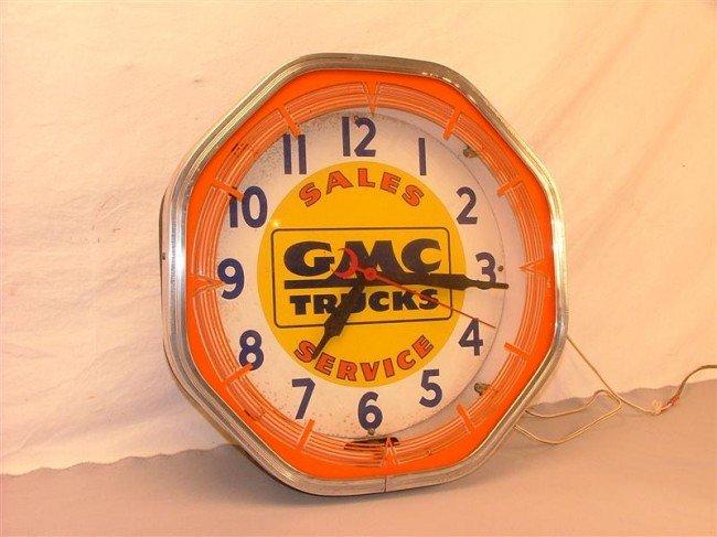 24: GMC Trucks Sales Service  neon clock 18x18x7