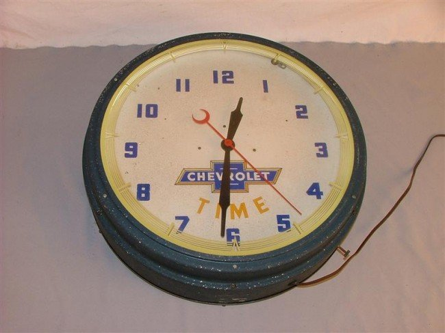 """24A: Chevrolet """"Time"""" Neon clock 20 inches"""