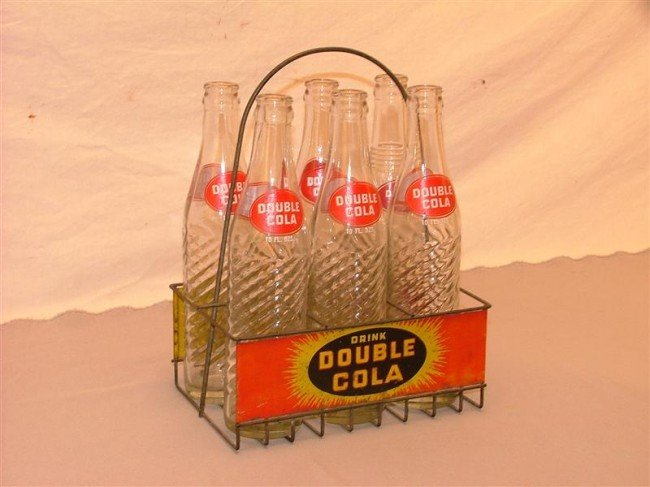 34: Double Cola  6 pack bottles & rack 12 inches high