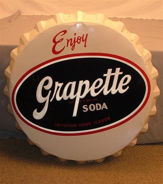36: Enjoy Grapette Soda SST bottle cap sign 38 inches