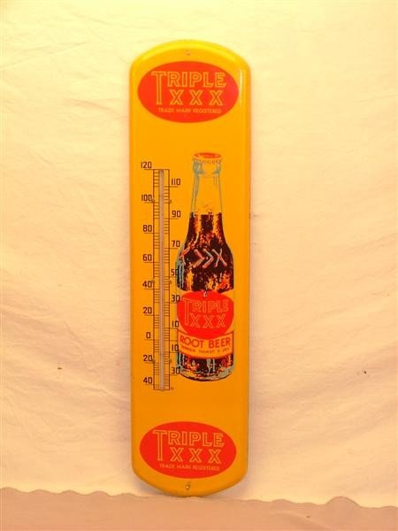 37: Triple XXX Root Beer Tin thermometer 27x7